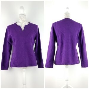 Hanna Andersson Purple V Neck Wool Sweater